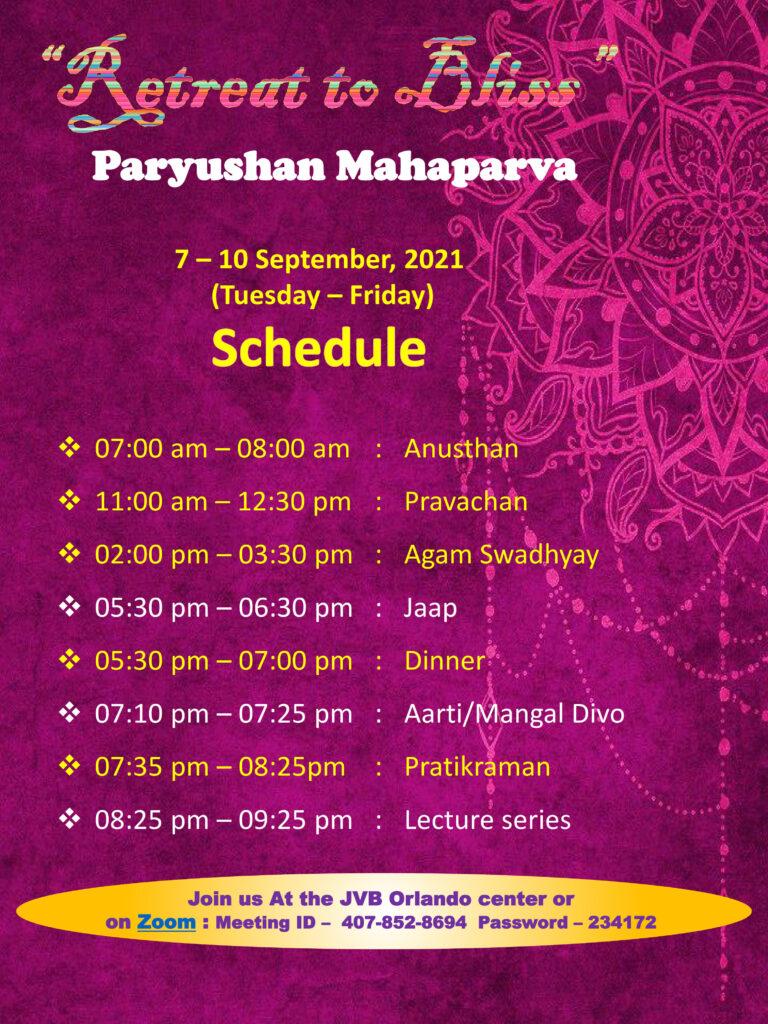 JVB Orlando 2021 Paryushan Mahaparv Program Schedule Sep 7-10