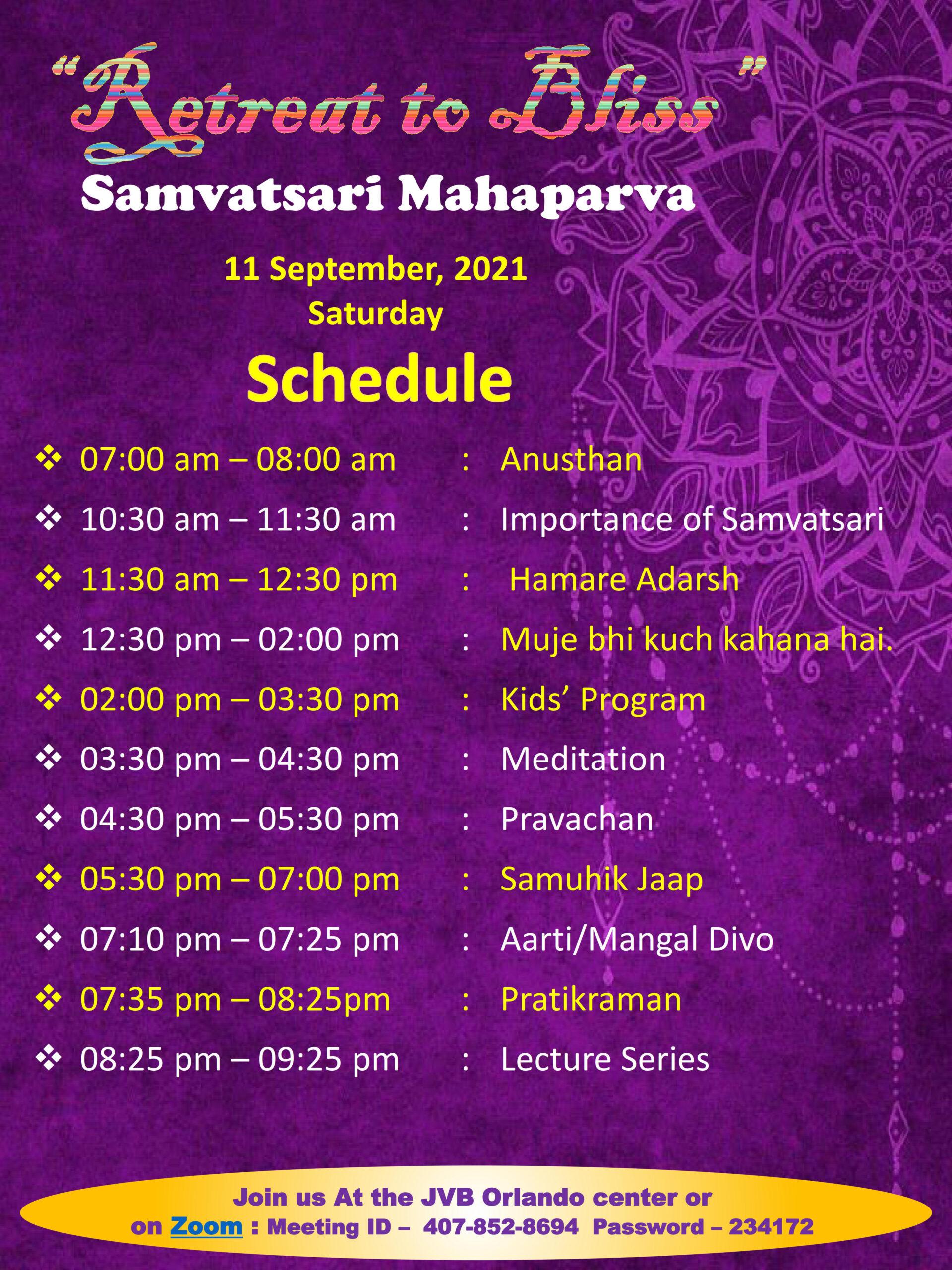 JVB Orlando 2021 Paryushan Mahaparv Samvatsari Schedule Sep 11