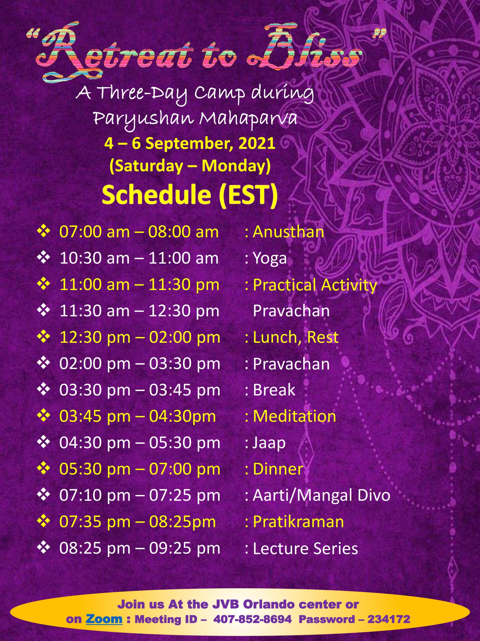 JVB Orlando 2021 Paryushan Mahaparv Program Schedule Sep 4-6